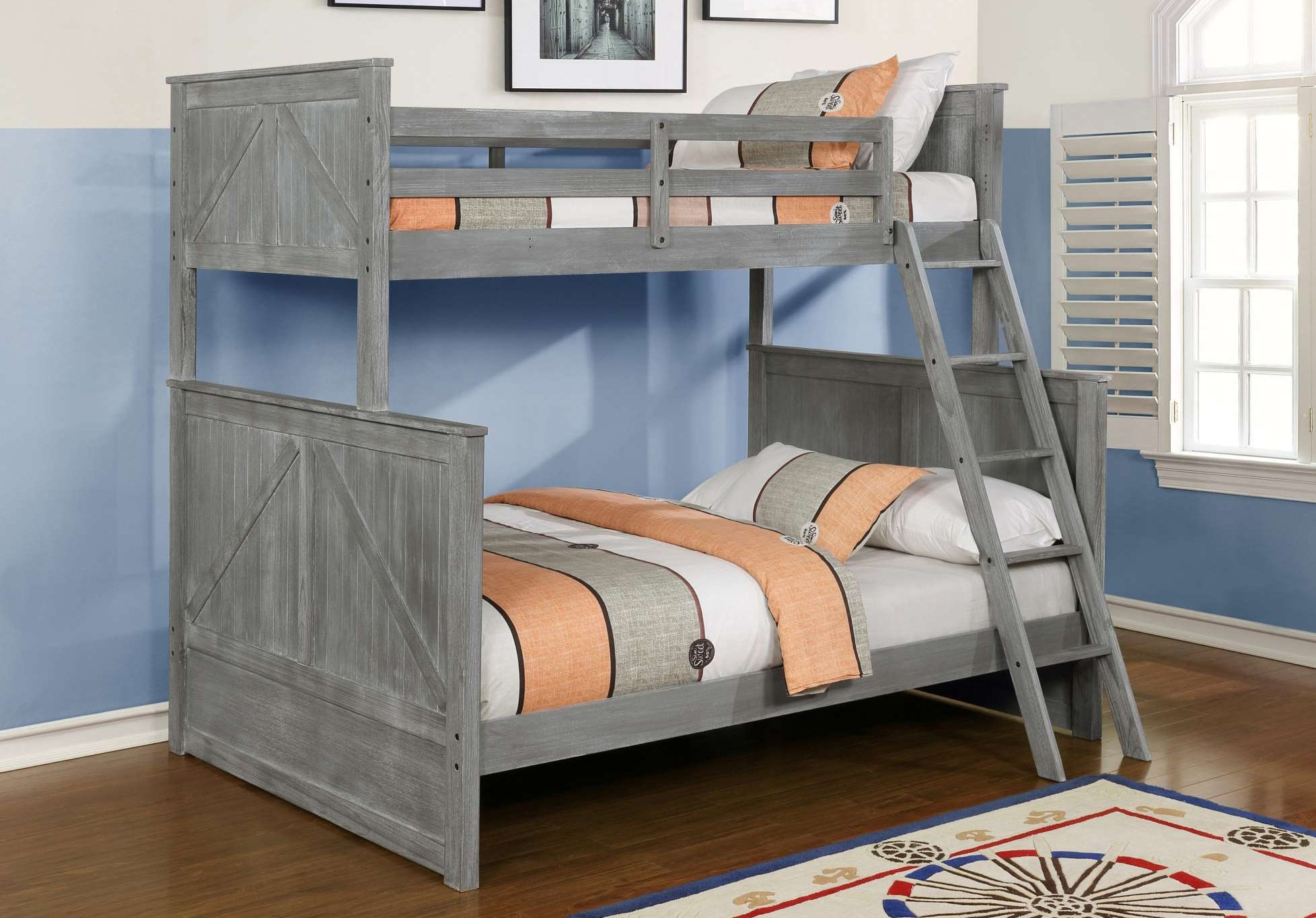 BED45486 Grey Bunkbed