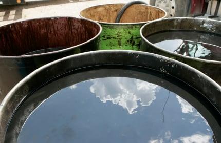 Barrels of used oil