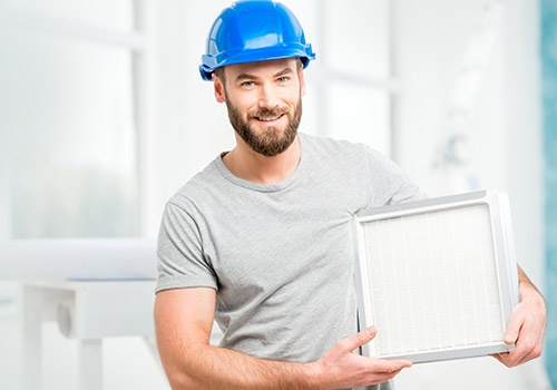 Worker Holding Air Filter