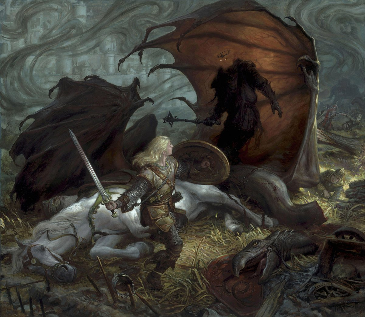 "Eowyn and the Lord of the Nazgul 39"" x 34"" oil on panel 2010 epic confrontation from J.R.R. Tolkien's The Lord of the Rings collection of Greg Obaugh"