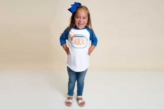 Little Girl in Monogram Shirt