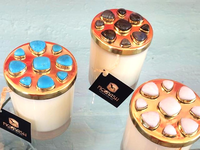 Gem-Studded Candles