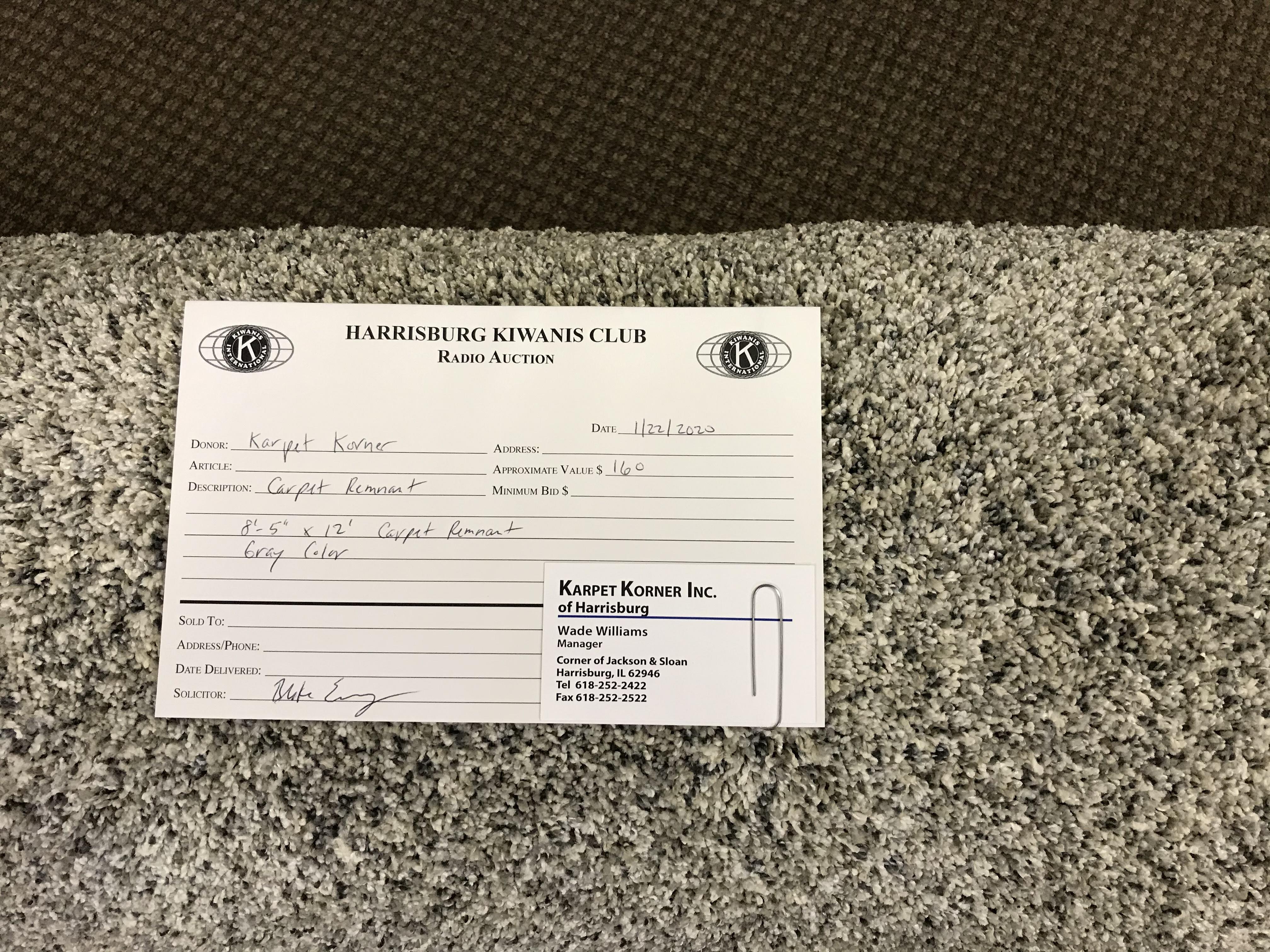 """Item 507 Karpet Korner Gray 8'-5"""" x 12' Carpet Remnant"""
