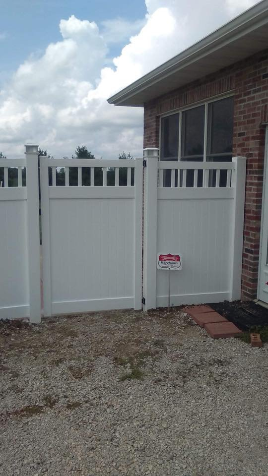 White Privacy Fence With Gate