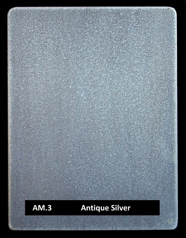 Pewter finish real applied metal coating by Artistic Metals. Sample AM.3 Antique Silver.