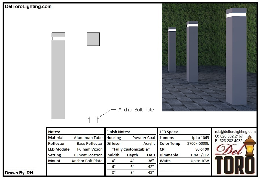 605L-Window Bar Square Bollard