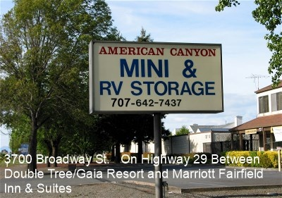American Canyon Mini & RV storage sign on Highway 29