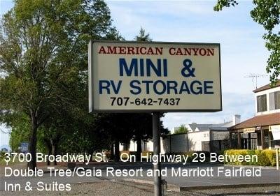 American Canyon Mini & RV storage sign on Highway 29
