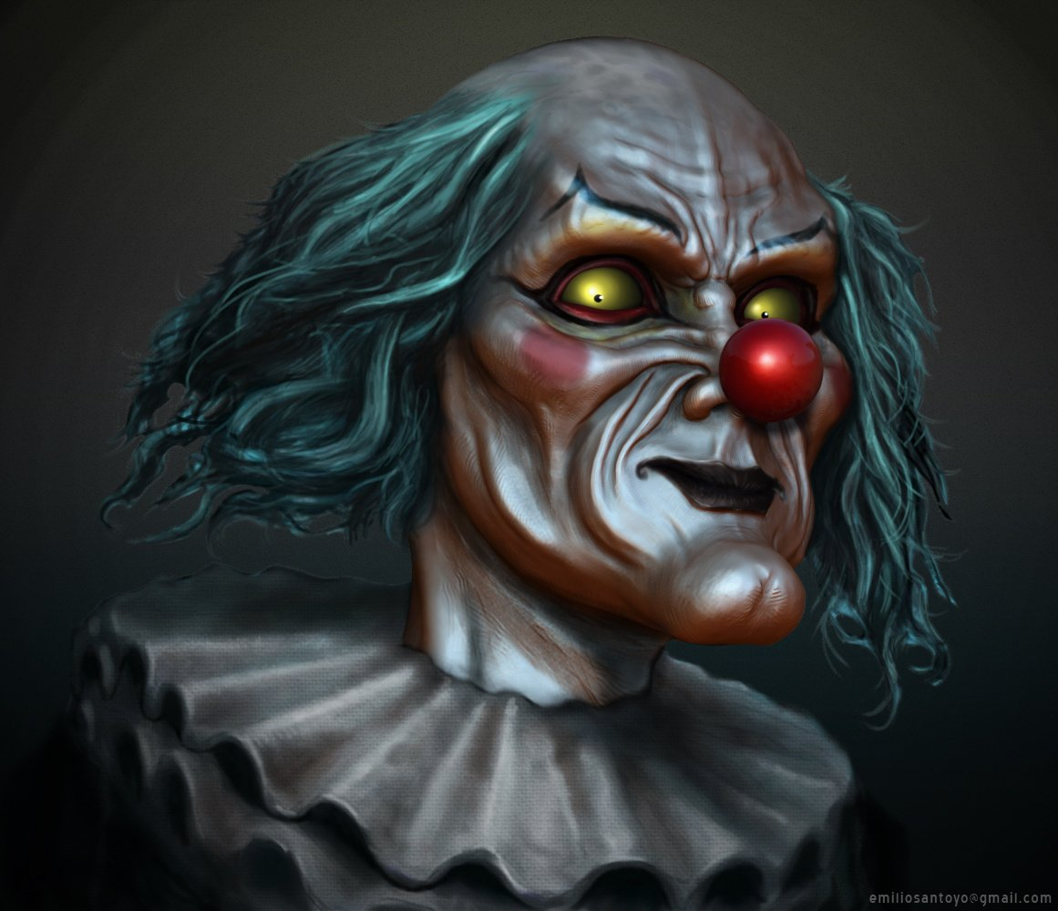 Clown Bust. Software used Maya, PhotoShop, and Zbrush.