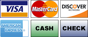 We accept American Express, Cash, Check, Debit Cards, Discover, Financing, MasterCard and Visa.