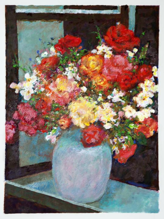 "Celadon Vase,   20"" X 26"" monotype oil on paper $375.  © Diane Crago 2012"