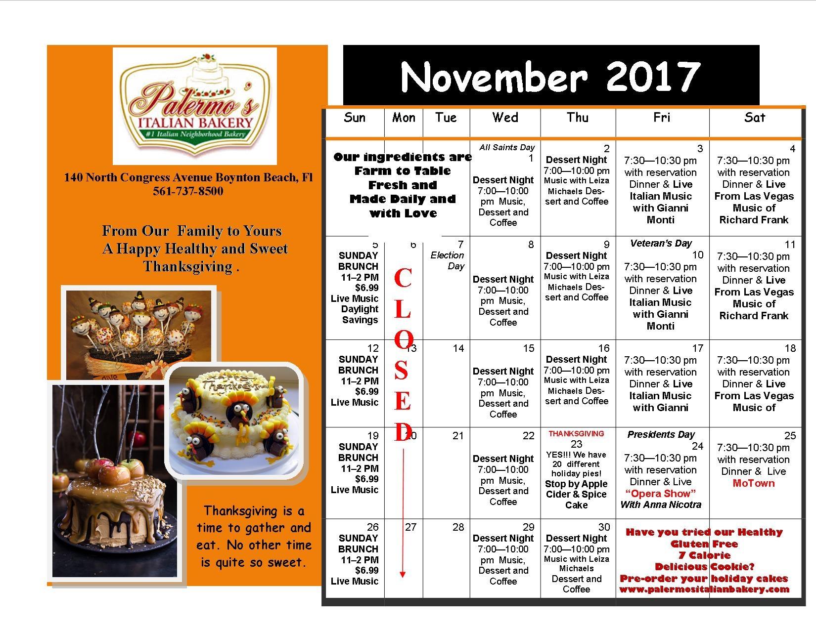 November Performance Schedule
