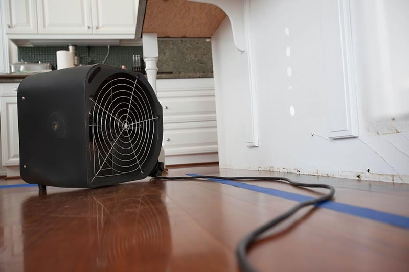 Fan drying water damage