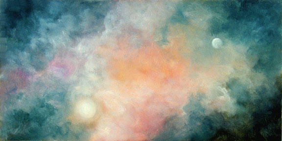 "Star Birth 6"" x 12"" Oil on Textured Panel   $150"
