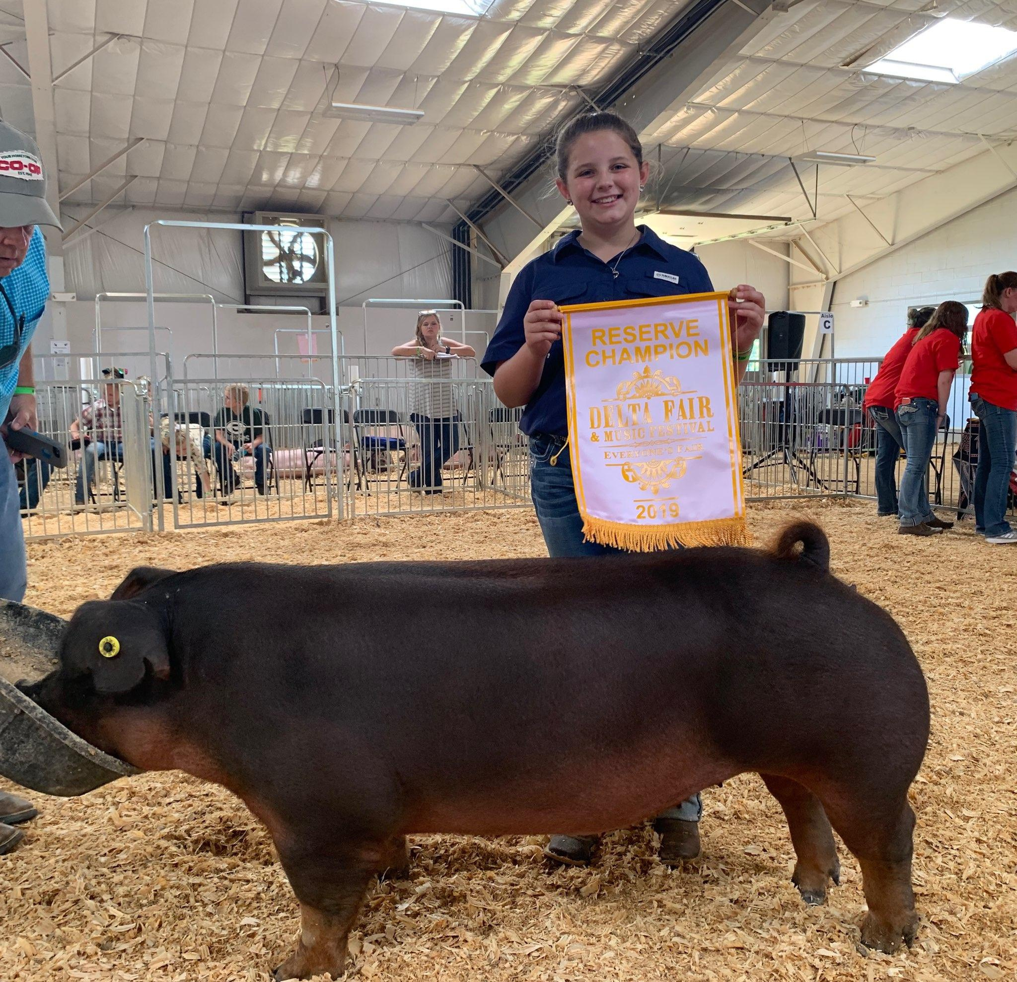 Ann Thomas Lowery 2019 Delta Fair & Music Festival Reserve Champion Duroc Gilt (Day 2)