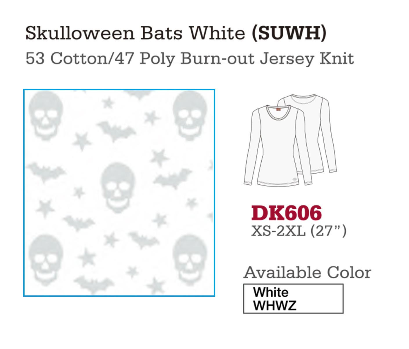 Skulloween Bats White. DK606.