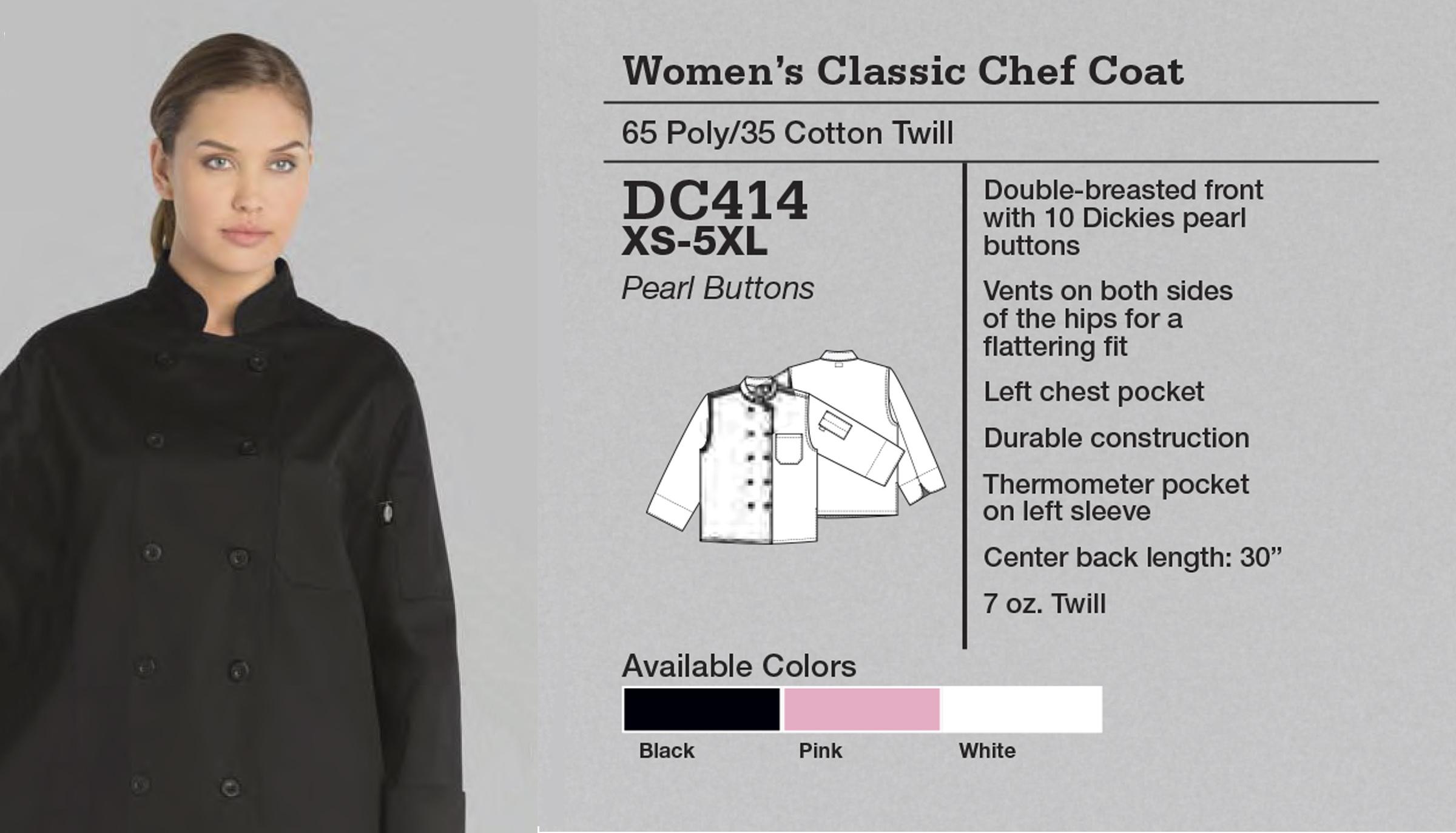 Abrigo de Chef para Mujer Clásico. DC414.