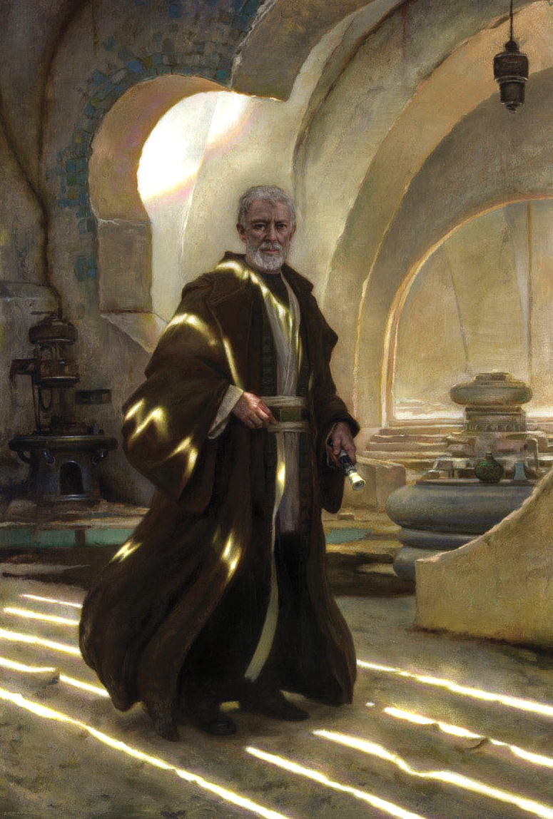 "Obi-wan Kenobi 48"" x 36""  Oil on Panel  2008 created for a special book and print project with Lucas Film collection of George Lucas"