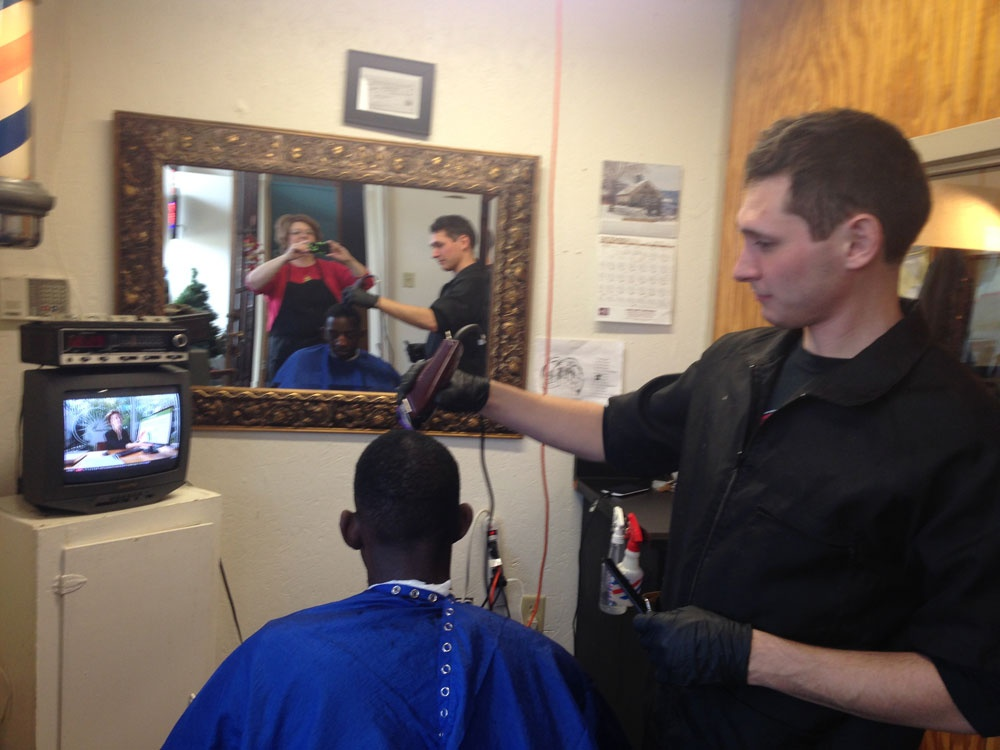 Barber Shaving Hair