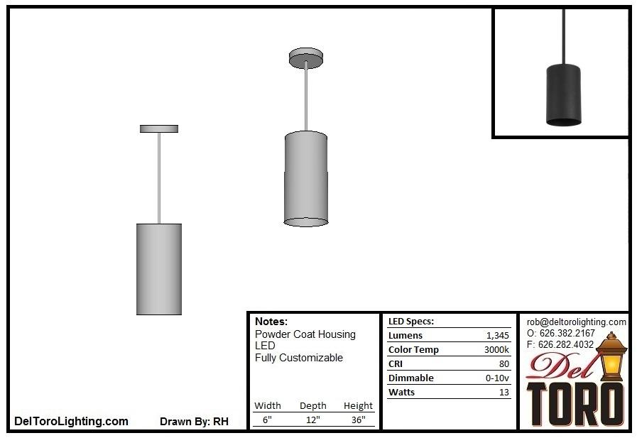 500P-Metal Cylinder Pendant