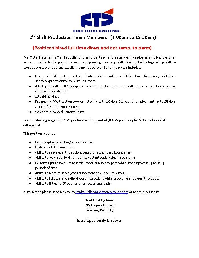 shift leader job description lebanon marion county is always – Team Lead Job Description