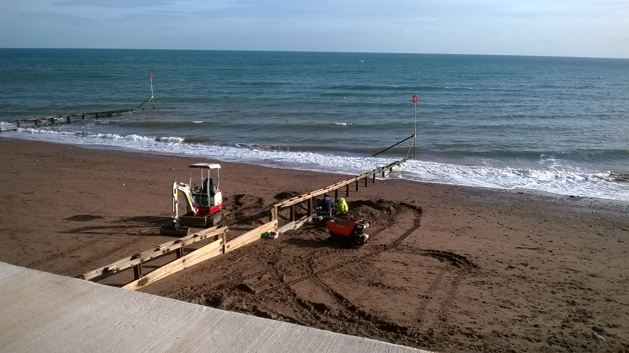 Beach works between tides