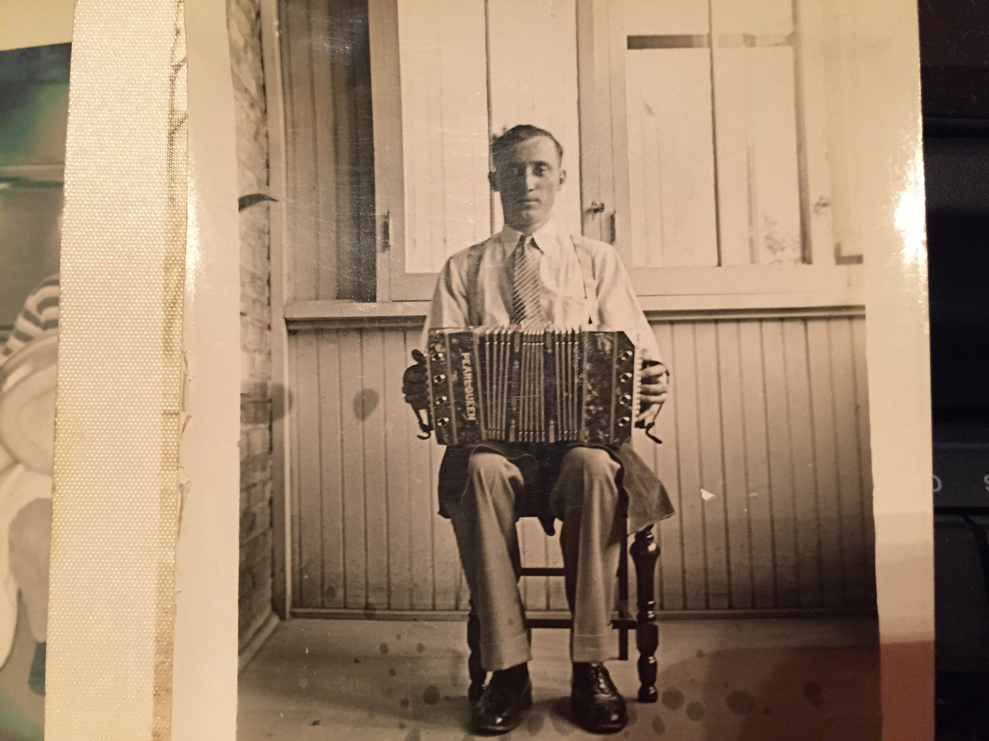 Chester Raclawski my Dad's Father playing his Pearl Queen Concertina 1920's