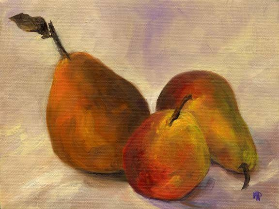 """Three Pears - 6""""x 8"""" Oil on Stretched Canvas SOLD"""