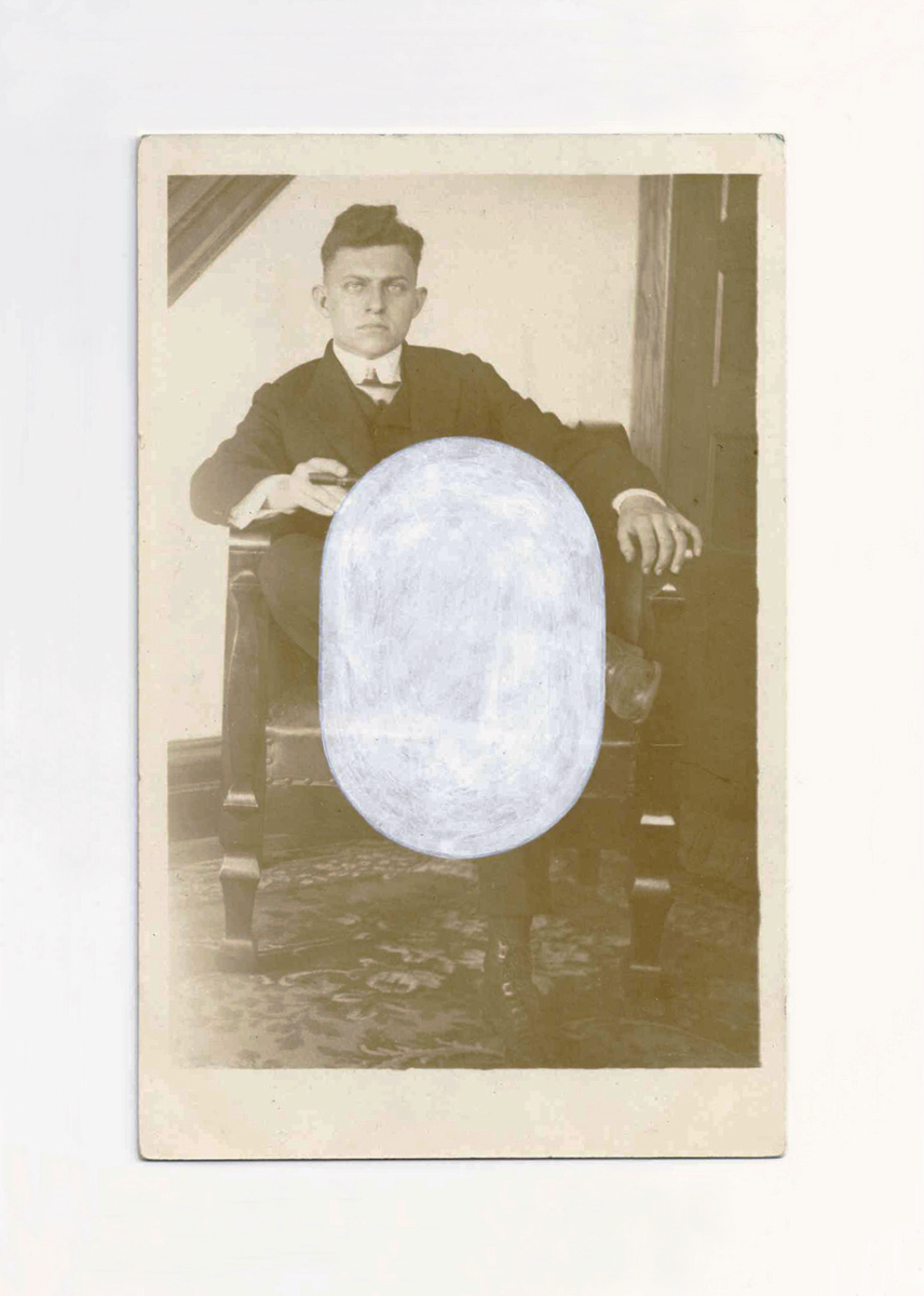An old sepia photograph of a young man with a cigar, plus a white painted oval.