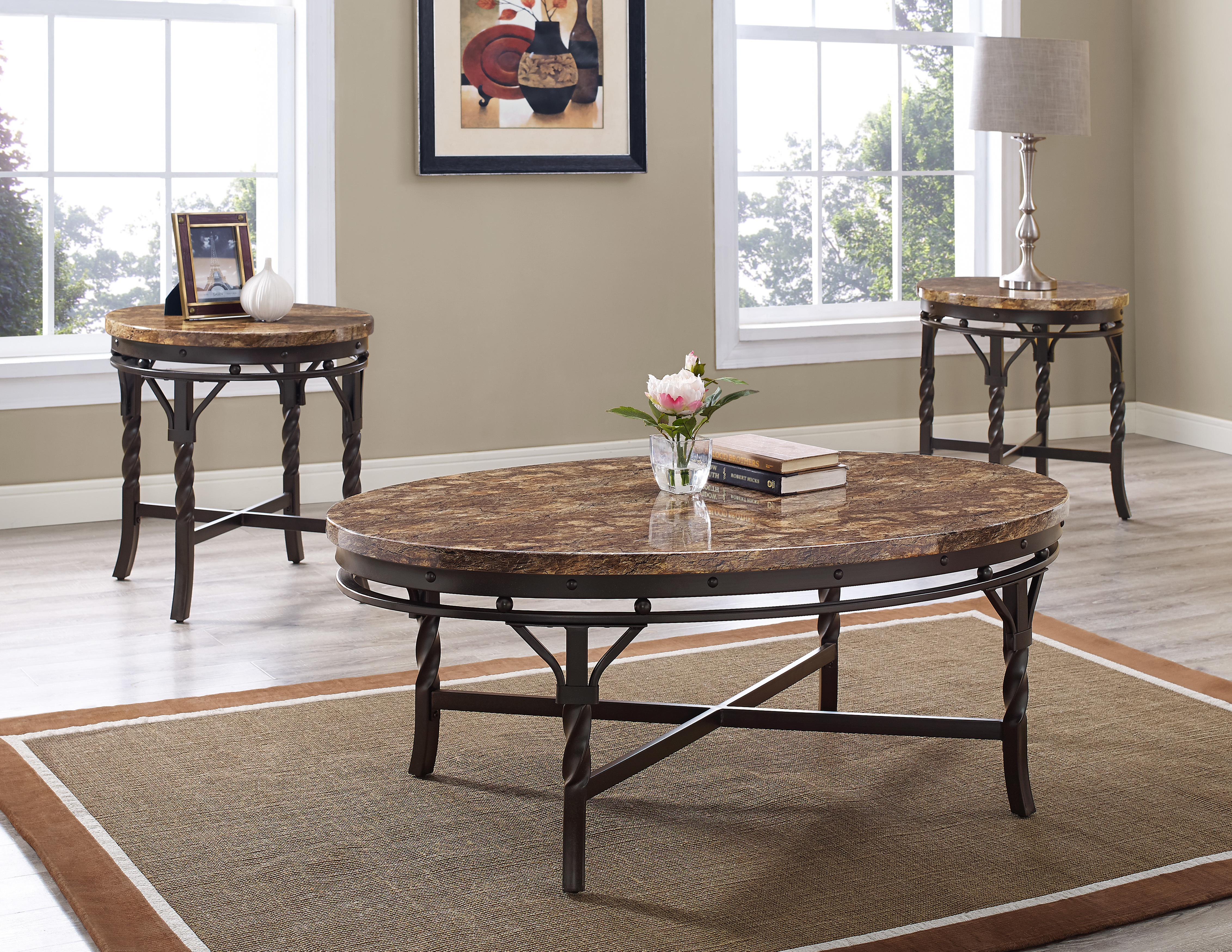 Tuscan Faux Marble Coffee and End Tables set 9550