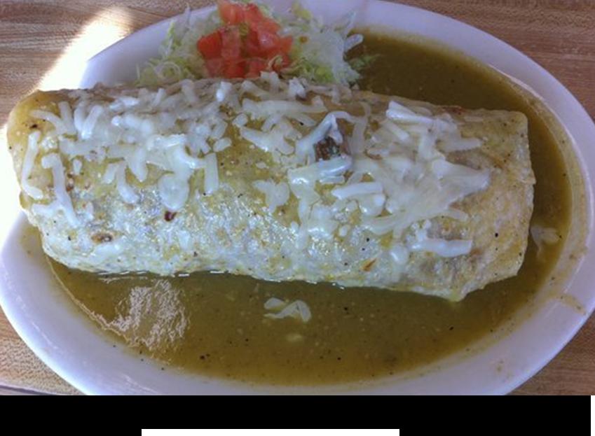 Carne asada wet burrito green||||