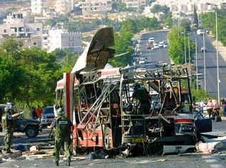 Aftermath of suicide bomb attack on a Jerusalem bus. (EMPICS)