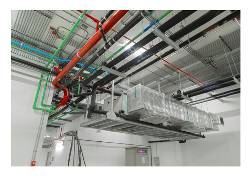 Ventilation System and Pipe Systems Installed on Industrial Building