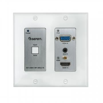 4K Ultra HD Multi-Format 2x1 HDBaseT Wall-Plate Sender w/ Scaler, Auto-Switching, and POH