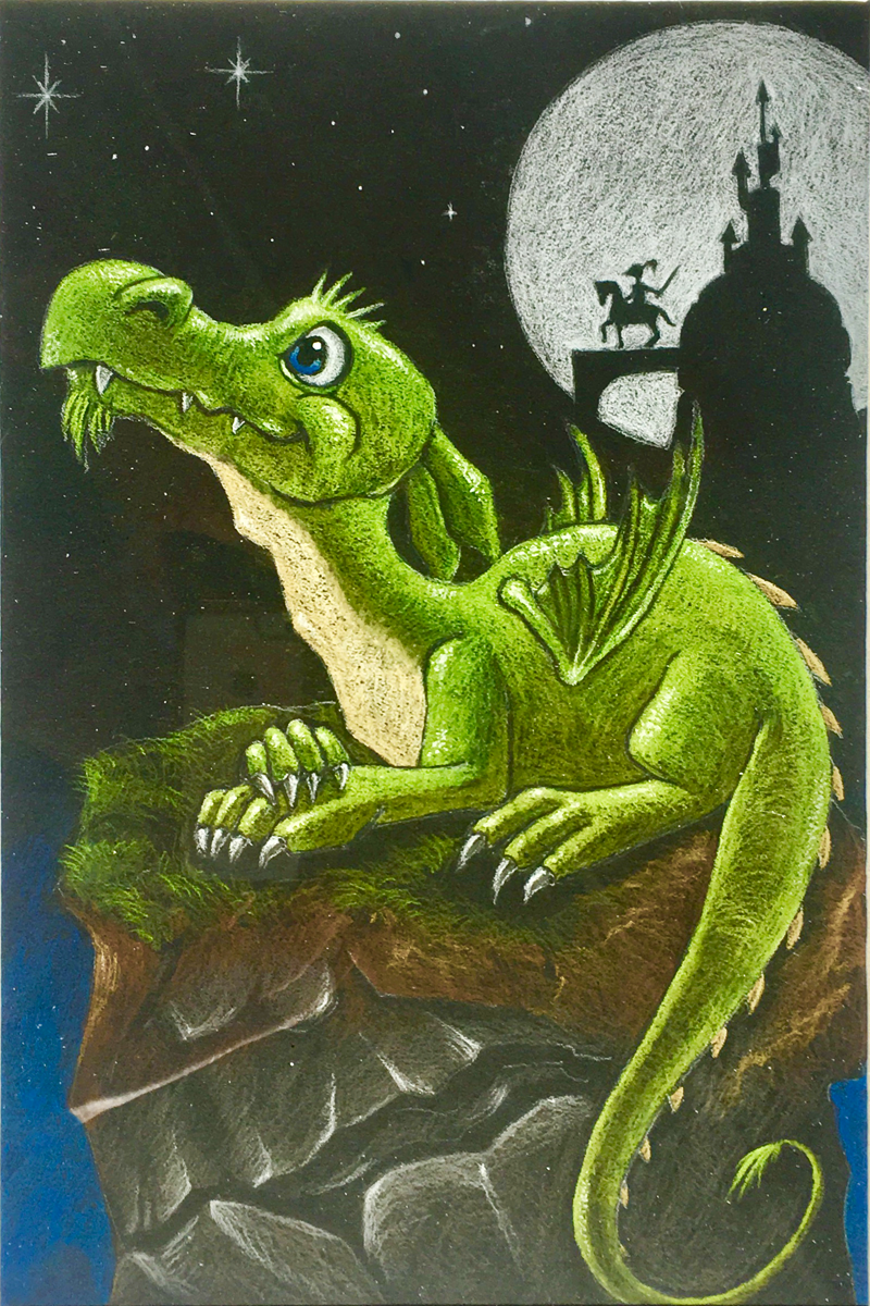 Baby Dragon, 2017 Pastel on Paper 12 in × 16 in