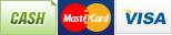 We accept Cash, MasterCard and Visa.