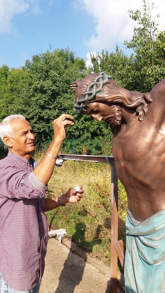Bronze metal finish on cast sculpture