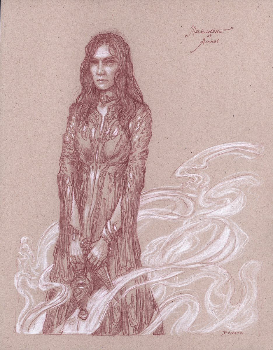 "Melisandre of Asshai 14"" x 11""  Watercolor and chalk on toned paper available for purchase"