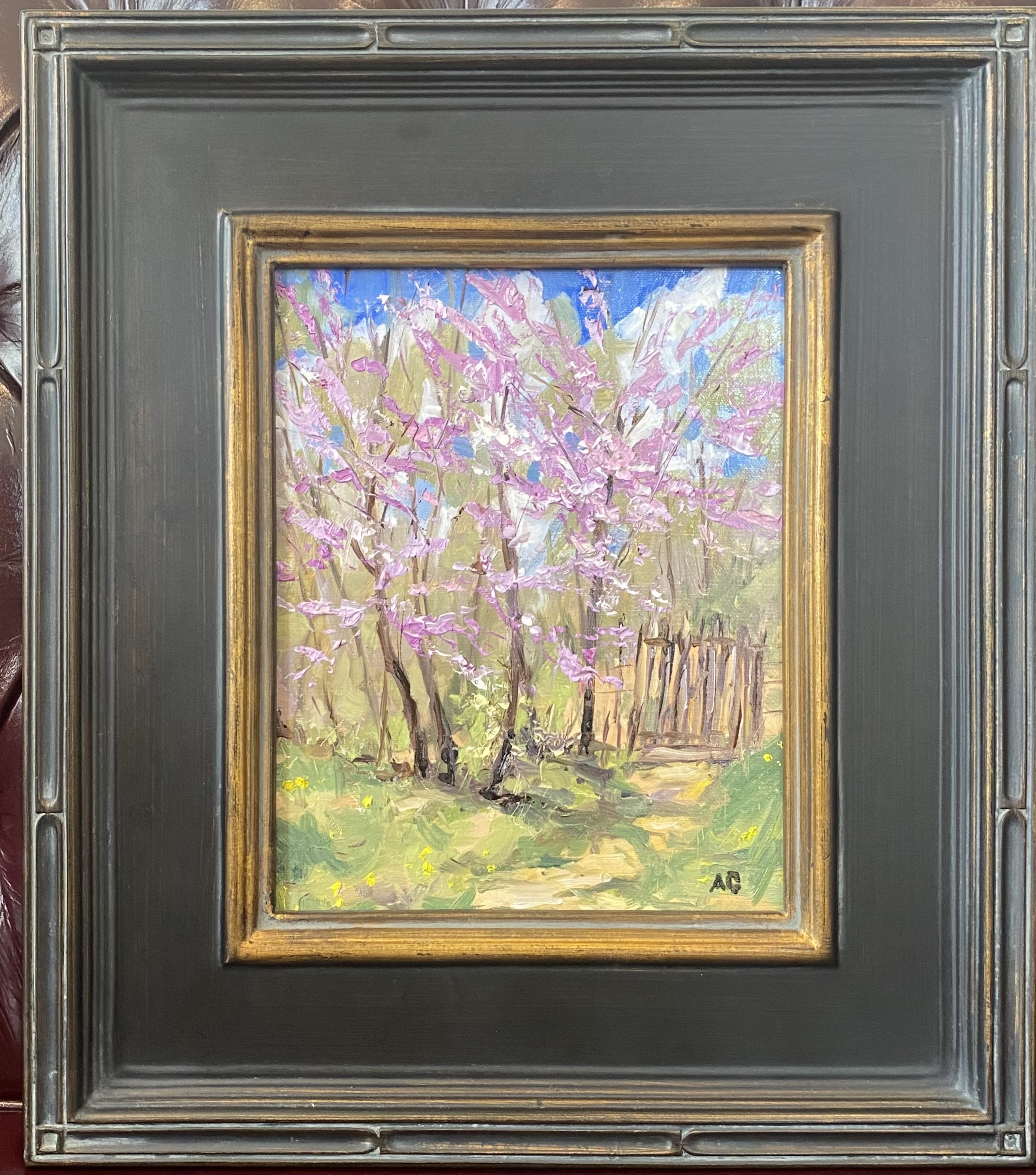 """Blooming Red Buds Oil 8"""" X 10"""" $195."""