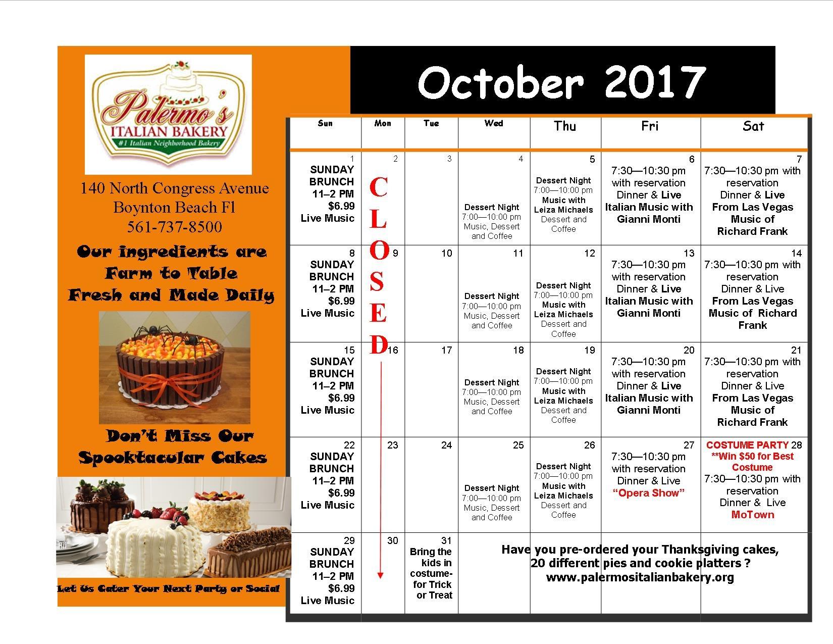 October Performance Schedule