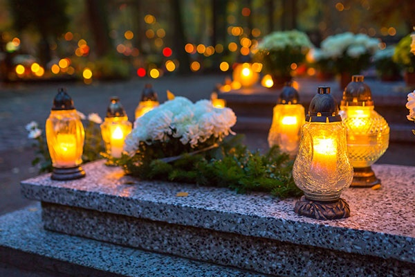 Colorful Candles on the Cemetery
