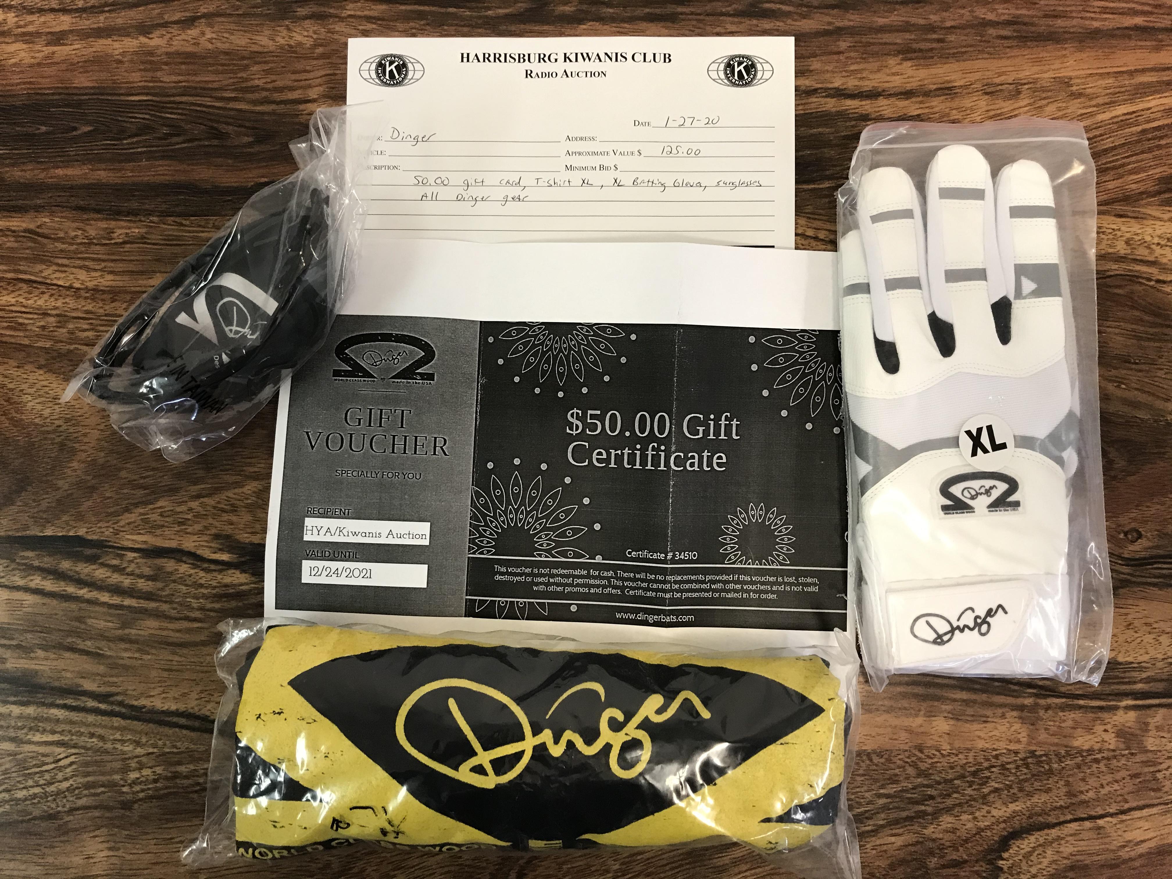 Item 334 - Dinger $50 Gift Card, Dinger Gear XL T-Shirt, XL Batting Gloves, Sunglasses