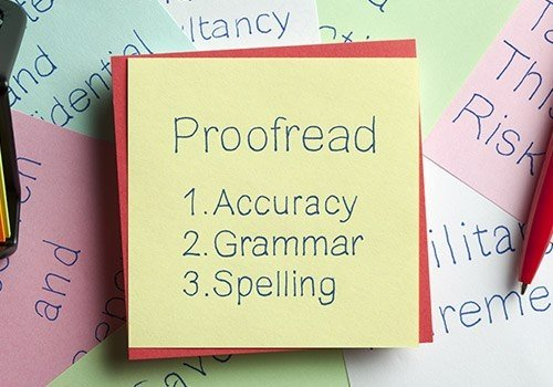 Proofread Written on a Note