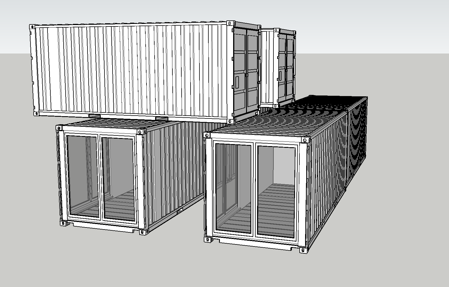 Cantilevered single business units made from converted 20ft containers