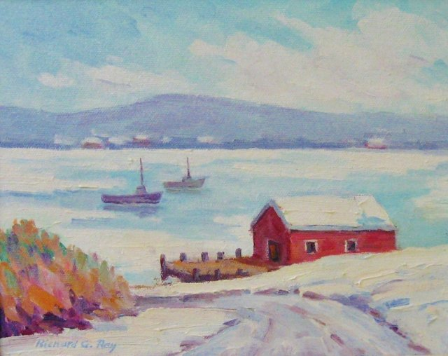Ice on the Bay, 8 x 10 Oil