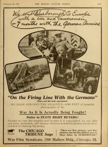 On the Firing Line With the Germans advertisement, Moving Picture World, 26 February 1916