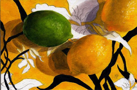 "Lemons & Lime 5""x7"" Oil on Canvas Panel"