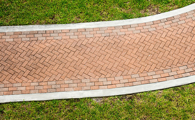 Brick Sidewalk Through Grass From Above