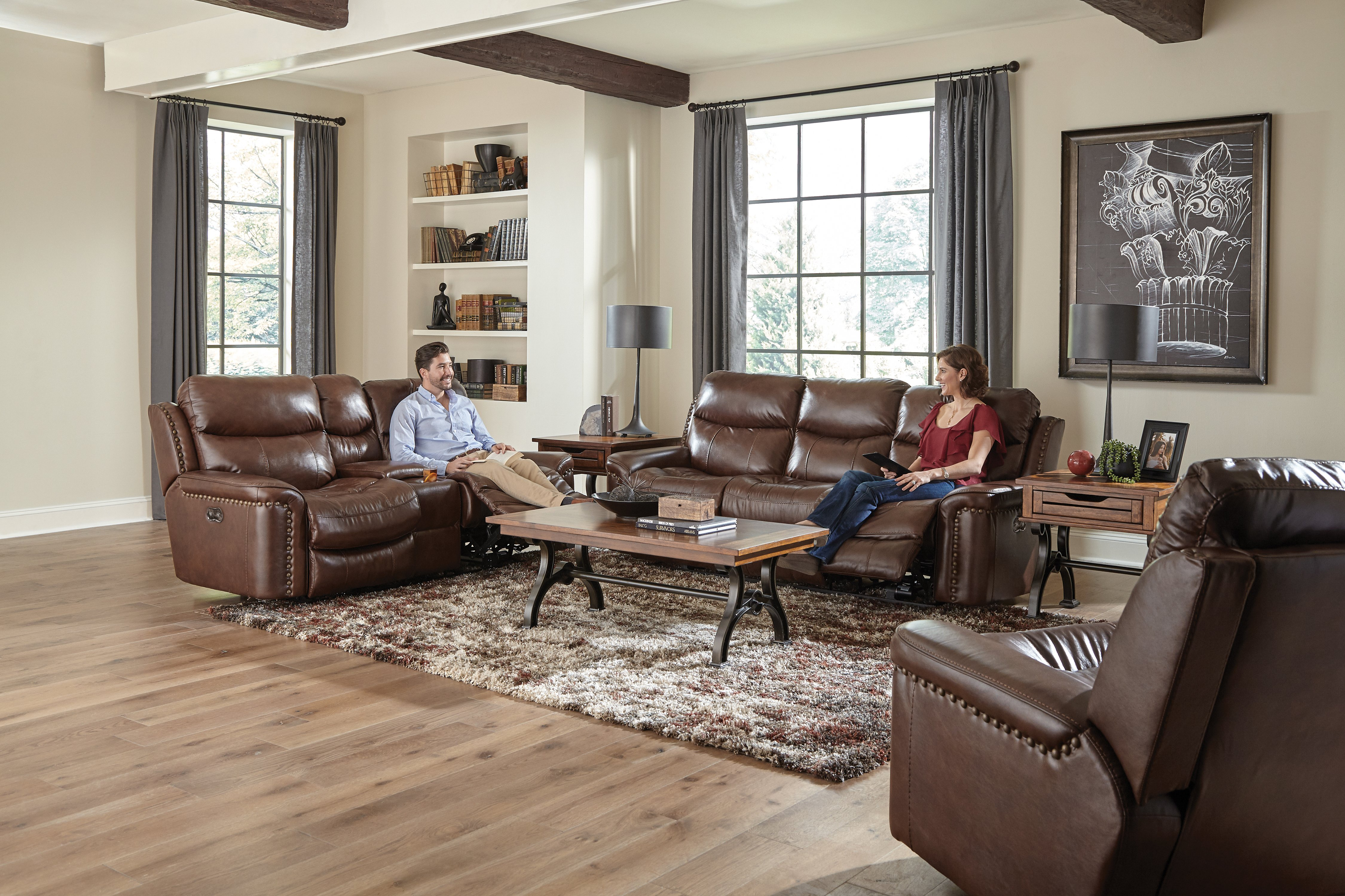 ceretti 6488 leather reclining living room by Jackson Catnapper