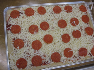 Large unbaked pizza||||